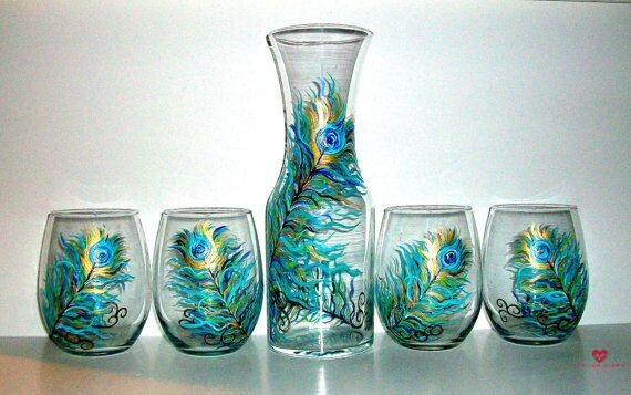 Peacock-Stemless-Wine-Glasses-and-Carafe