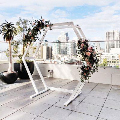 Hexagon-Wedding-Ceremony-Arch-Rental